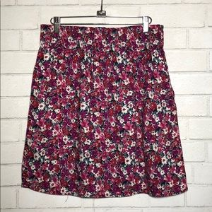 Aqua Ditsy Floral High Waisted Skirt with Pockets